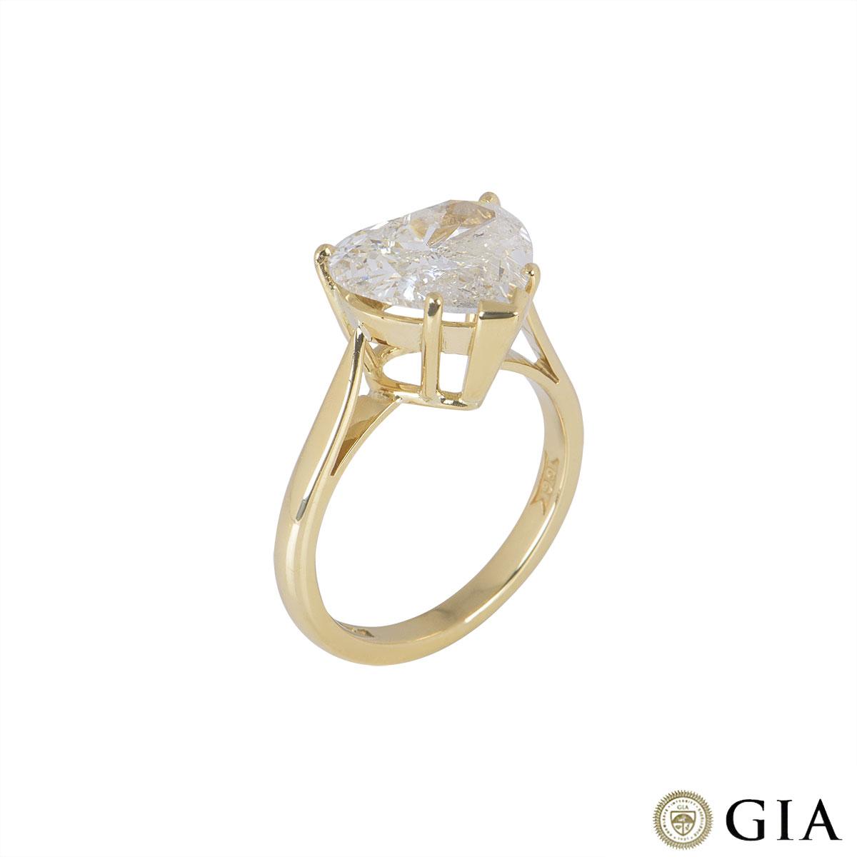 Yellow Gold Heart Cut Diamond Ring 2.83ct L/I2